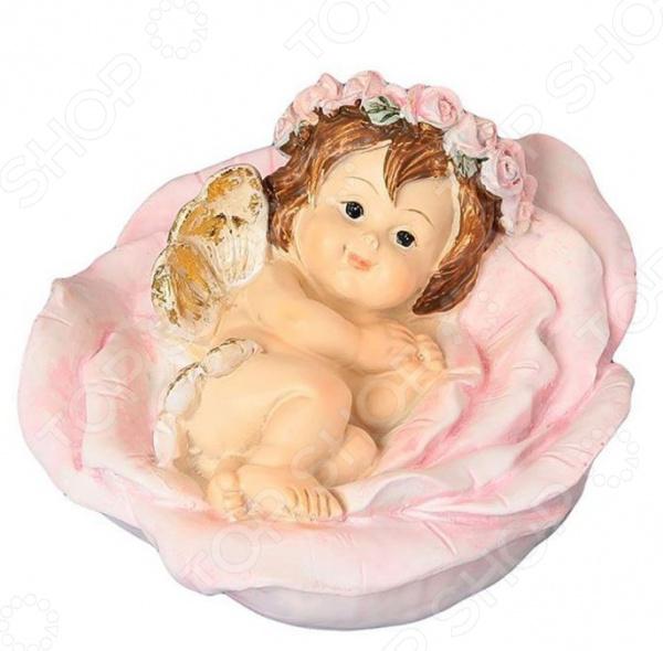 Фигурка декоративная Elan Gallery «Ангелочек в цветке» elan gallery фигурка декоративная ангелочек со свечкой