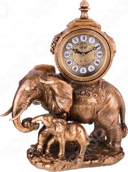 Часы настольные «Престиж». Дизайн: слониха со слоненком