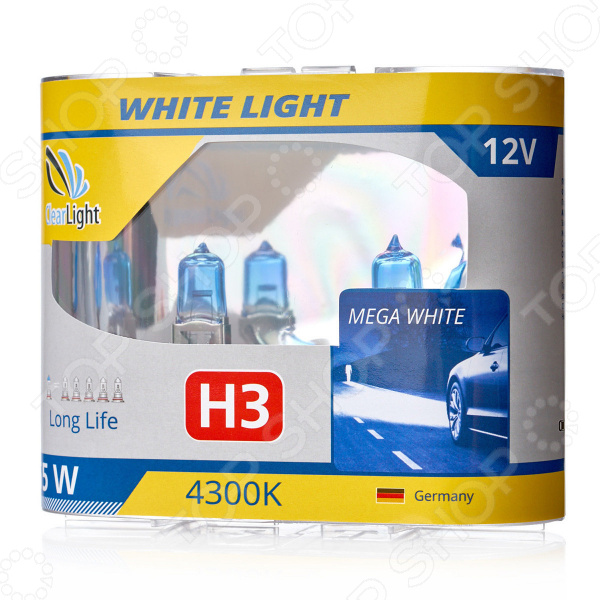 Комплект автоламп галогенных ClearLight WhiteLight H3 12V-55W комплект автоламп галогенных clearlight whitelight h1 12v 55w