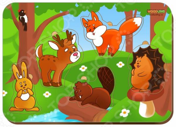 Игра развивающая WoodLand «Рамка-вкладыш: Лесные животные» кто мой малыш животные и их детеныши
