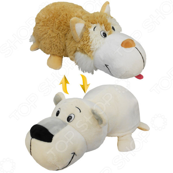 Мягкая игрушка 1 Toy «Вывернушка 2в1: Бежевый хаски-Полярный медведь»