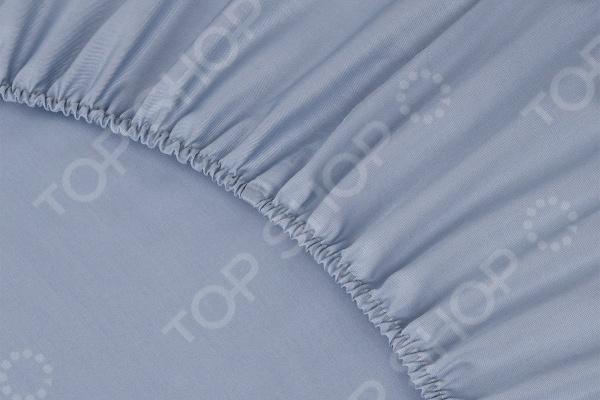 Простыня на резинке Ecotex Premium. Тип ткани: сатин. Цвет: серо-голубой