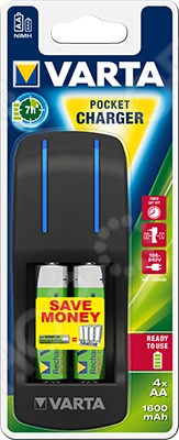 цена на Устройство зарядное VARTA Pocket Charger+4х160