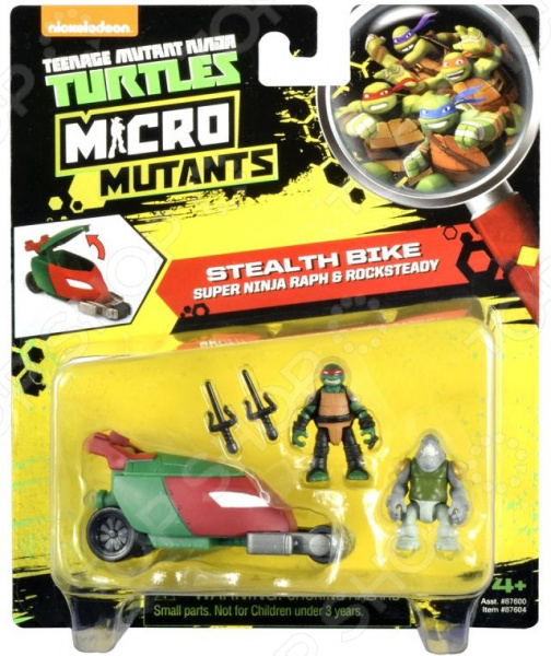 Игровой набор Nickelodeon Stealth Bike. Super Ninja Raph&Rocksteady