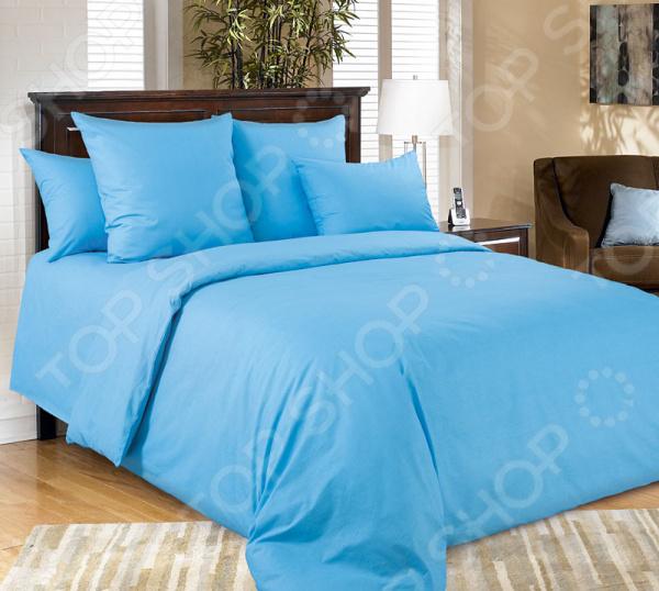 Комплект постельного белья Королевское Искушение гладкокрашеный. Цвет: голубой. Евро