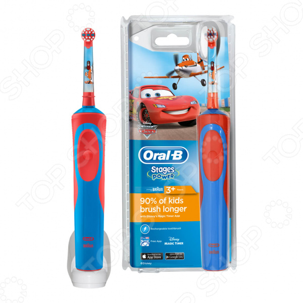 Щетка зубная детская Oral-B Vitality D12.513 Cars простая в использовании щетка с экстрамягкими щетинками для детей, которая обеспечит профессиональный уход за полостью рта за счет уникальной технологии 2D. Данная технология позволяет удалять больше налета, чем простые зубные щетки. Электрическая щетка способна совершать до 7000 возвратно-вращательных движений в минуту, что позволяет более тщательно воздействовать на налет, эффективно разрушая и удаляя его.  Преимущества детской электрической зубной щетки  Мягкая и деликатная чистка.  Питание за счет собственного аккумулятора.  Оптимальная круглая форма основной насадки.  Встроенный таймер, которая обеспечивает точный подсчет времени работы.  Время зарядки 16 ч.  Время работы от аккумулятора 7 дней при регулярной чистке 2 раза в день по 2 минуты.  Индикация износа за счет цветных щетинок.  Скачайте для этой модели специальное приложение, чтобы помочь детям научиться чистить зубы, рекомендуемые стоматологом, 2 минуты и выработать правильные привычки по уходу за полостью рта. Приложение также позволяет создать индивидуальный профиль с любимыми героями. Эта модель оформлена визуальным игровым таймером и системой вознаграждений за регулярную чистку зубов и бесстрашные походы к врачу.