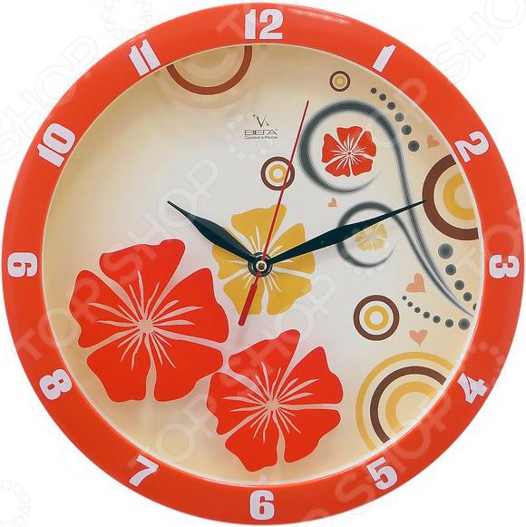 Часы настенные Вега П 1-1727/7-302 «Красные узоры»