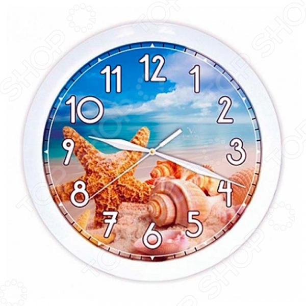 Часы настенные Вега П 1-7/7-222 «Ракушки на пляже» часы настенные вега п 4 14 7 86 новогодние подарки