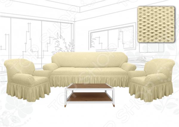 Zakazat.ru: Натяжной чехол на трехместный диван и чехлы на 2 кресла Karbeltex «Престиж. Соты» Euro