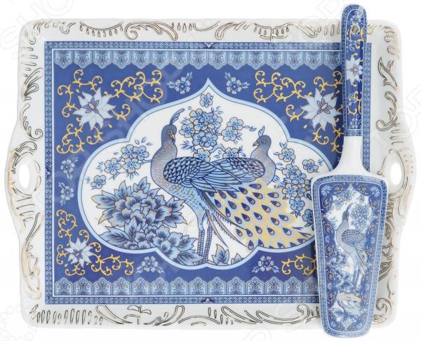 Поднос с лопаткой Elan Gallery «Павлин синий» блюда elan gallery блюдо для запекания павлин синий