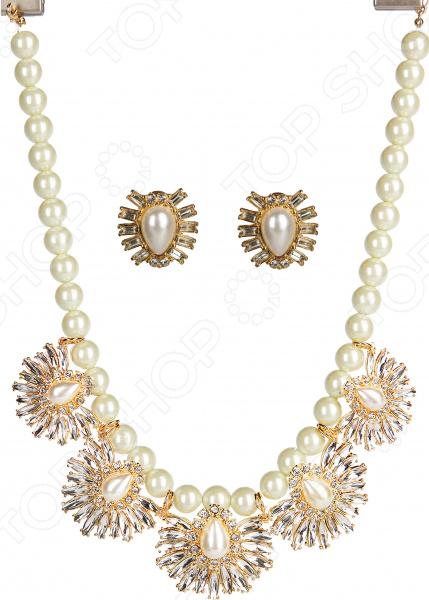 Ожерелье и серьги Laura Amatti «Жемчужный оазис»