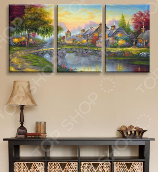 Картина модульная ТамиТекс «Дом у озера»