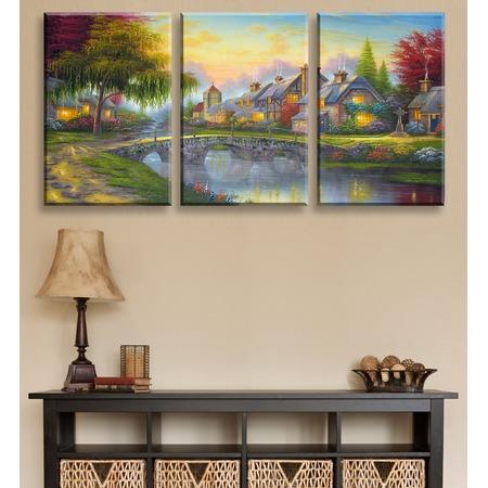 Купить Картина 3-модульная ТамиТекс «Дом у озера»