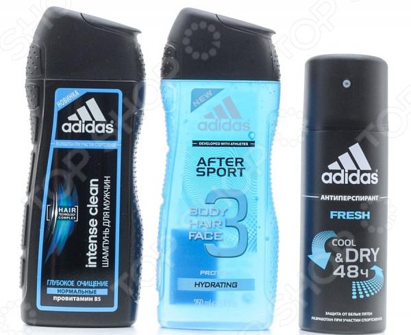 Набор мужской: дезодорант-спрей, гель для душа и шампунь Adidas Fresh дезодорант hlavin дезодорант спрей для обуви