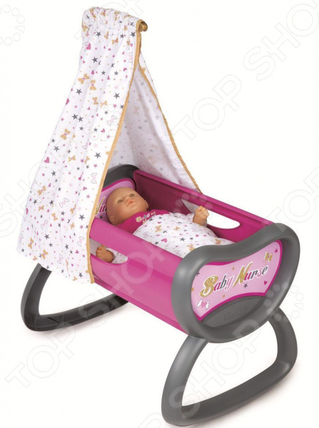Кроватка-люлька для куклы Smoby Baby Nurse с балдахином колыбель для пупса smoby baby nurse 28 5х52х26см