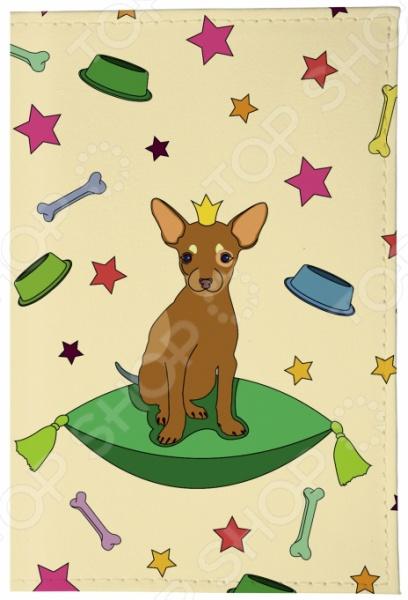 Обложка для паспорта кожаная Mitya Veselkov «Королева песиков на бежевом»