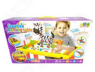 Конструктор-мозаика с шуруповертом и столом Ricotio Creative Learning Table. Количество деталей: 208 шт