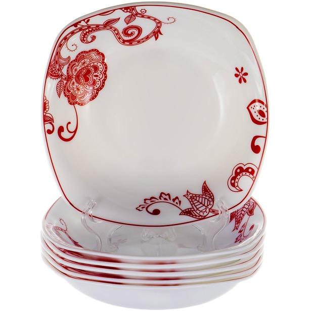 фото Набор суповых тарелок OlAff «Красные цветы»