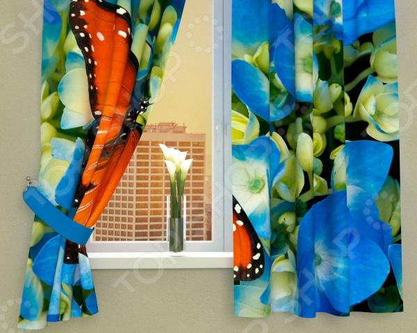 Фотошторы Сирень «Бабочка в цветах»