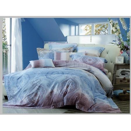 Купить Комплект постельного белья Guten Morgen 577. 1,5-спальный. Цвет: голубой, сиреневый