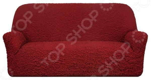 Натяжной чехол на трехместный диван «Модерн. Рубин»