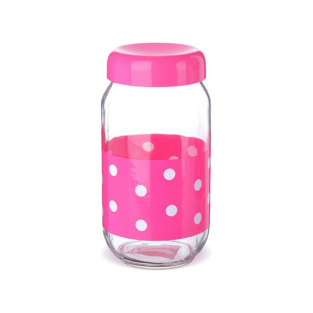 фото Банка для сыпучих продуктов Mayer&Boch «Горошек». Цвет: розовый. Объем: 1 л