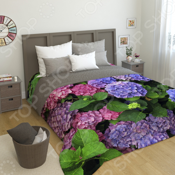 цена на Фотопокрывало стеганное Сирень «Гортензии цветы»