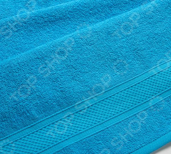 Полотенце махровое Uztex с бордюром. Цвет: голубой
