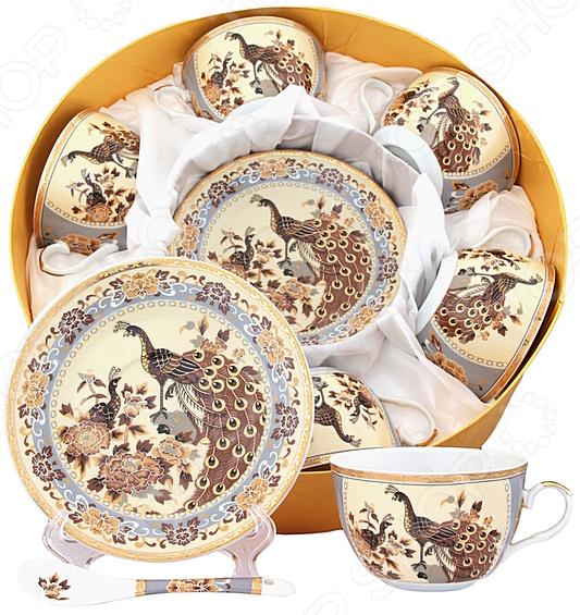 Чайный набор Elan Gallery с ложкой «Павлин на бежевом»