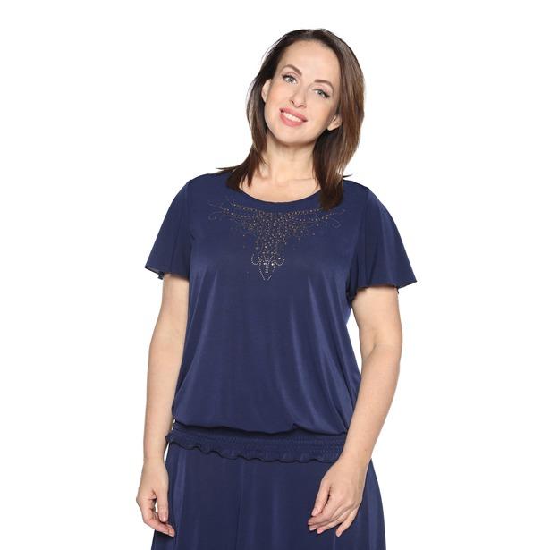 фото Блуза «Ослепительная» с  мерцающим декором. Цвет: темно-синий