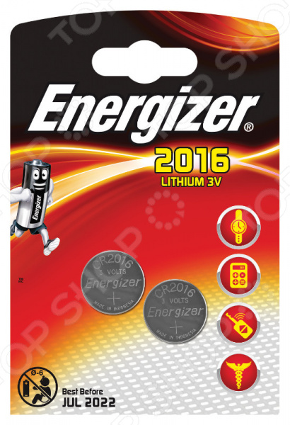 Набор литиевых батареек Energizer Lithium CR2016 FSB2