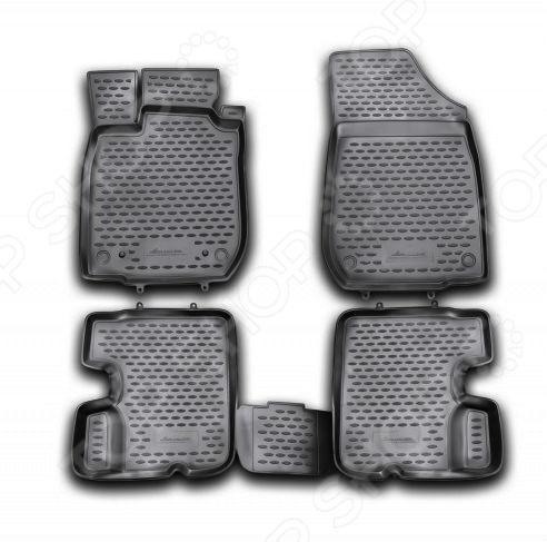 Комплект ковриков в салон автомобиля Novline-Autofamily Renault Sandero 2010-2014 pu