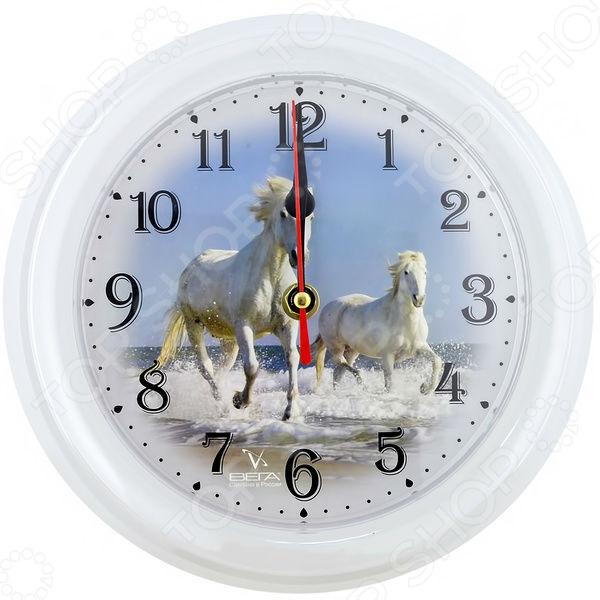 Часы настенные Вега П 6-0-16 «Лошади»