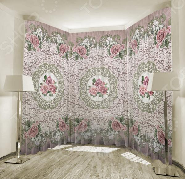 Фототюль ТамиТекс «Кружевной винтаж». Цвет: розовый