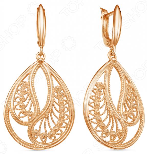 Серьги «Золотая паволока» 33010593 yoursfs высококачественная золотая пластина австрийский хрустальный серьги полые серьги серьги серьги серьги для женщин