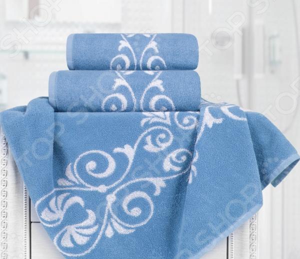 Полотенце махровое Aquarelle «Шарлиз». Цвет: белый, синий полотенце махр aquarelle шарлиз 70х140см синее