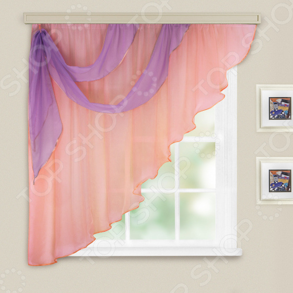 Комплект легких штор левосторонний WITERRA «Азалия». Цвет: бледно-розовый