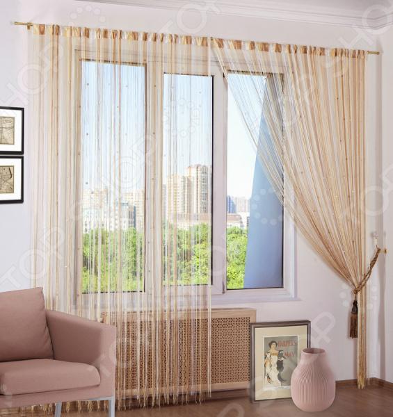 Шторы нитяные Алтекс «Радуга стеклярус».Цвет: белый, бежевый шторы томдом классические шторы вольтер к цвет бирюзовый