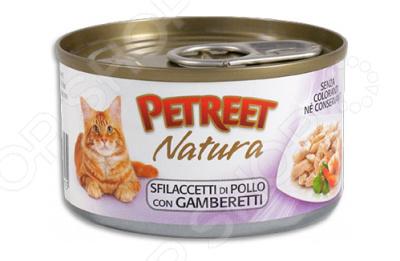 Корм консервированный для кошек Petreet Natura Sfilaccetti Di Pollo con Gamberetti