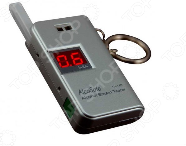 Алкотестер AlcoSafe KX-168 портативный прибор, который предназначен для измерения уровня концентрации алкоголя в крови человека. Данная модель отличается строгой выдержанной форму, небольшой компактный размер и яркий дисплей с легко читаемой информацией. Усовершенствованный сенсор паров алкоголя обладает высокой чувствительностью в области малых концентраций алкоголя, поэтому анализируя выдыхаемый воздух выдает данные с вероятной погрешностью - 0.1 BAC. Время измерения достигает около 10 секунд. Современный дизайн и компактная портативная конституция делают данный прибор удобным и практичным для личного пользования, специальное крепление для ключей позволяет всегда носить прибор с собой. Если алкоголь превышает допустимые показатели, прибор оповестит вас об этом звуковым и визуальным сигналом. Дополнительные особенности алкотестера AlcoSafe KX-168:  индикатор низкого заряда батареи;  складной усовершенствованный мундштук;  используется технология EVT электронного клапана, т.е. датчика сбора активируется только тогда, когда объем воздуха достигает нужной величины;  функция самодиагностики датчика;  быстрое время прогрева сенсора 10-15 секунд;  автоматический режим сохранения энергии;  способен произвести от 150 до 250 измерений до замены источников питания. Питание устройства осуществляется за счет 2 батареек типа ААА.