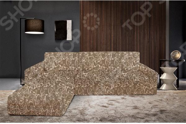 Натяжной чехол на угловой диван с выступом слева Еврочехол «Виста. Инка» 3