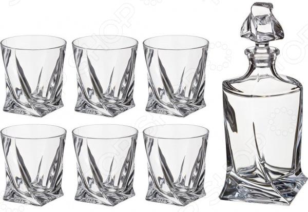 Набор для виски: штоф и стаканы Crystalite «Квадро» 669-138