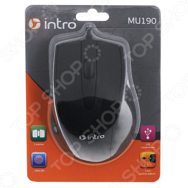 Мышь Intro MU190 мыши intro мышь mu110g intro gaming black usb