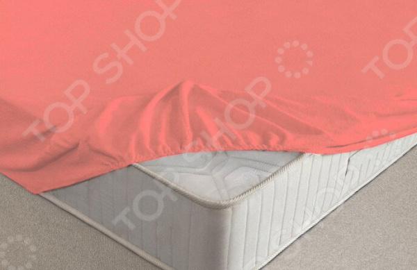Простыня на резинке Ecotex махровая. Цвет: коралловый