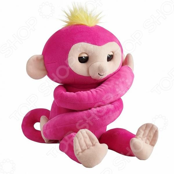 Мягкая игрушка интерактивная Fingerlings «Обезьянка-обнимашка розовая»