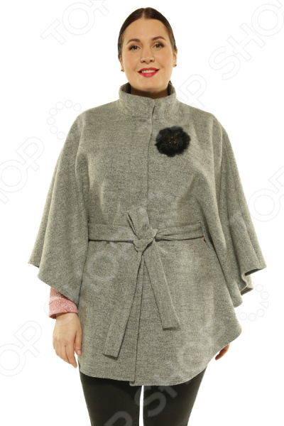 Пончо-пальто Blagof «Жаклин» с декротивной брошью