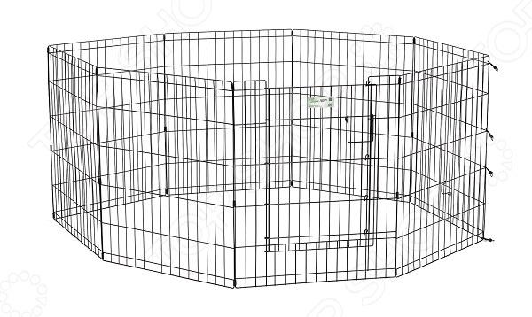 Вольер для животных MidWest Life Stages с дверью небольшой панельный вольер, который идеально подойдет для тех, кто ценит практичность и заботится о своем питомце.  Запатентованная дверная система MAXLock повышает безопасность, предоставляя множество точек блокировки по периметру двери.  Эргономичная ручка-замок позволяет легко и удобно управлять дверью одним движением, без сгибания коленей.  Прочное черное покрытие вольера Electro-Coat обеспечивает долговечную защиту.  Вольер легко складывается для удобного хранения и транспортировки, легко собирается, не требуется никаких инструментов или дополнительных деталей.  Возможные конфигурации вольера квадрат, прямоугольник, восьмиугольник. В комплект включены угловые усилители, которые добавляют вес и поддерживают конфигурацию ограждения, они так же могут быть использованы для защиты напольного покрытия, и крепежи, которыми оснащена функциональная безопасная каркасная дверца.