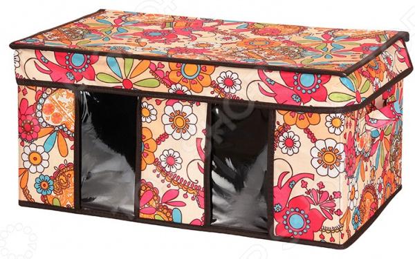 Кофр для хранения вещей EL Casa с птичками, двумя ручками и двумя прозрачными окнами