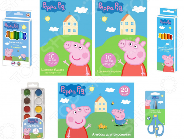 Набор для рисования Peppa Pig «Свинка Пеппа» цветные карандаши толстые свинка пеппа 6 цветов peppa pig