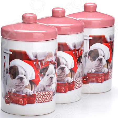 набор банок для сыпучих продуктов loraine красный узор 400 мл 3 шт 25862 Набор банок для сыпучих продуктов Loraine LR-27279